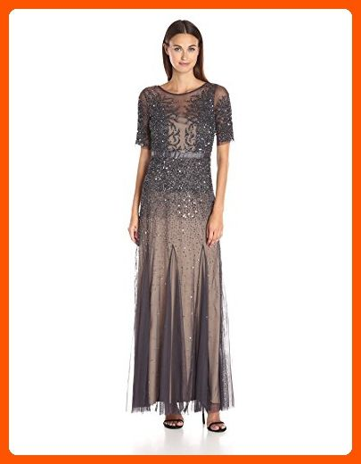 7e645800525 Adrianna Papell Women s Elbow Length Sleeve Fully Beaded Gown with Godets