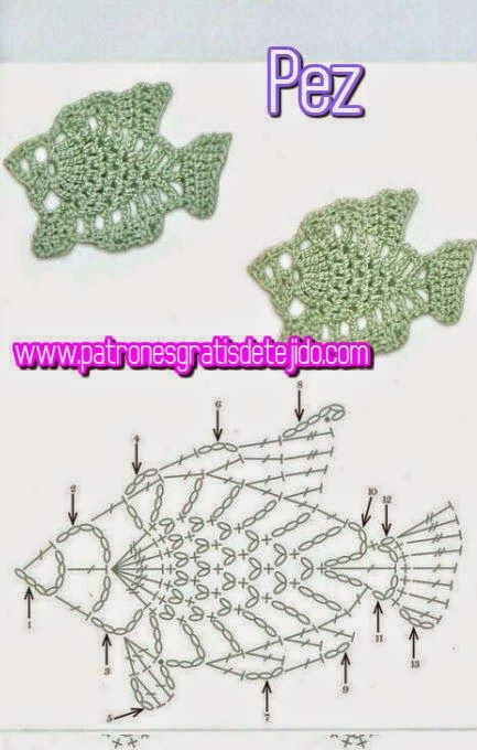 esquema crochet de pescados | Mariposas tejidas | Pinterest ...