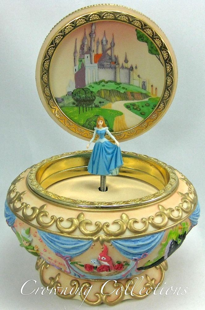 Disney Sleeping Beauty Music Box Princess Aurora 3D Round Jewelry