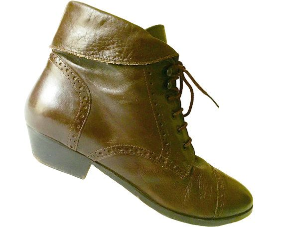 658b700c68394 Vintage 80s Pixie Boot Ankle Cuffs Granny Brown Leather Size 8.5 ...