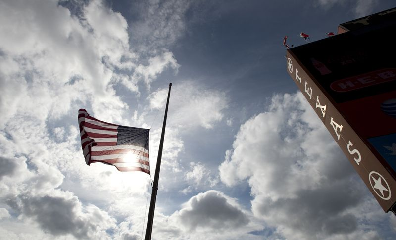 Flags Fly Half Staff In The Stadium As A Tribute To Darrell K Royal Stadium Texas Football Iowa State