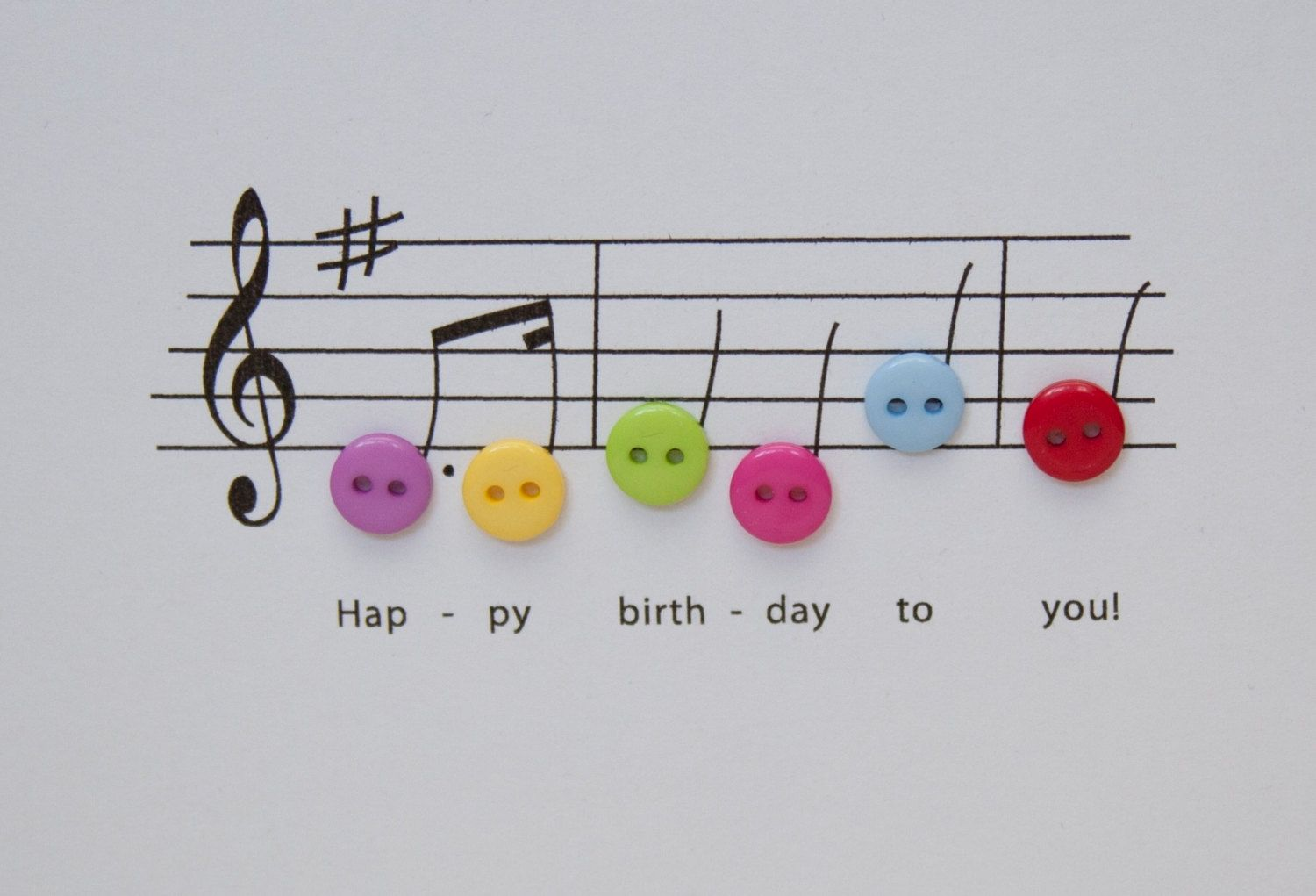 Happy birthday music card birthday card with button notes paper happy birthday music card birthday card with button notes paper handmade greeting card etsy uk kristyandbryce Choice Image