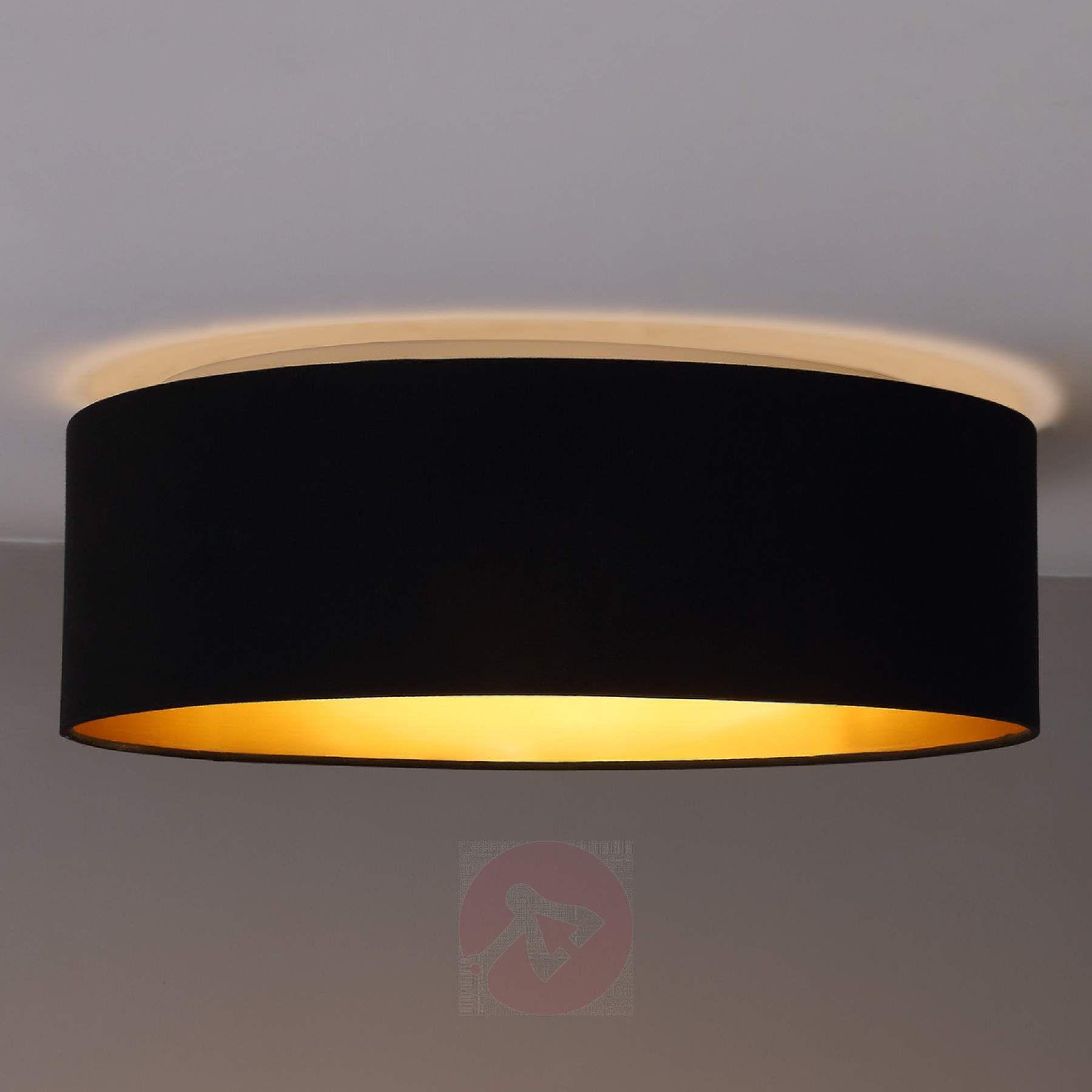 Stoff-Deckenlampe Coleen in Schwarz, innen gold kaufen