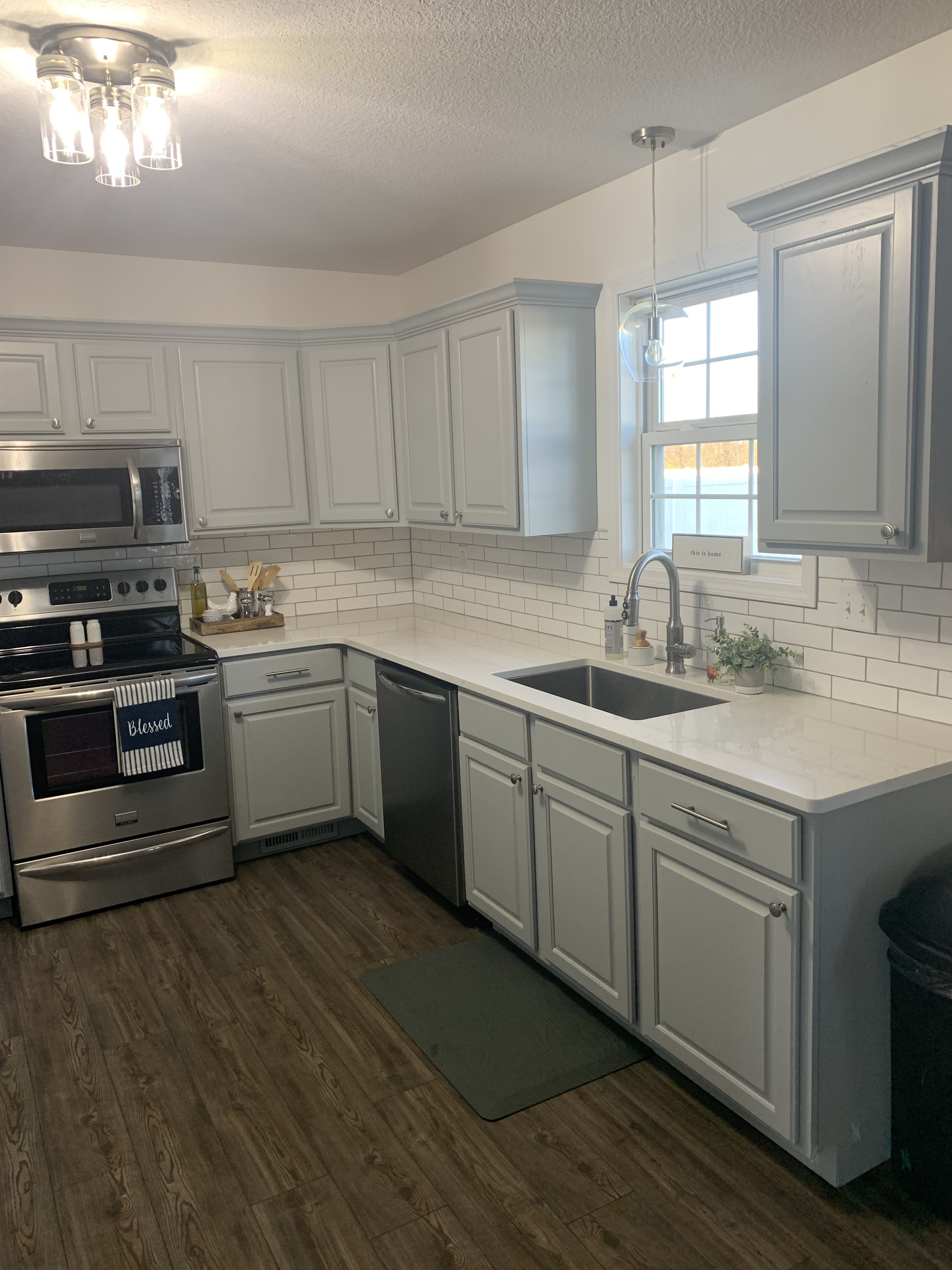 Our Kitchen Remodel Light Gray Cabinets Quartz Counter Tops And