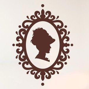 Lady Profile In Art Nouveau Frame Wall Stickers Vinyl Art Decals