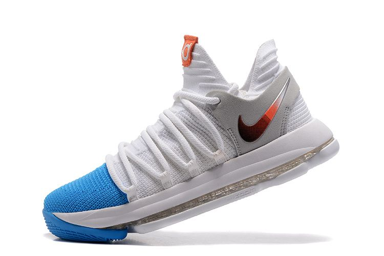 outlet store b2eee ac807 2018 Buy Nike Zoom KD 10 EP White Blue 897816 103 Kevin Durant Mens  Basketball Shoes