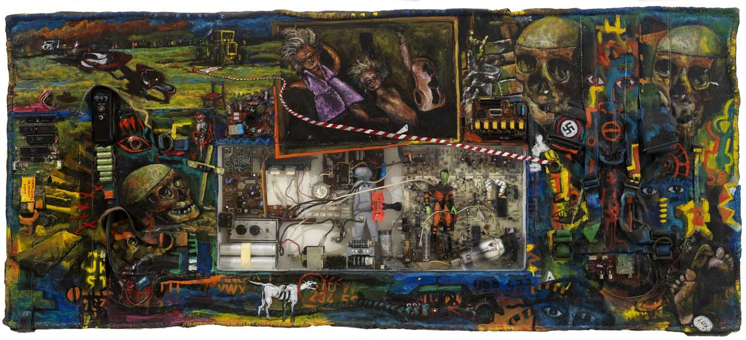 Willie Bester - Untitled - 1999 - Mixed media on board - 62 x 142 x 9,5 cm