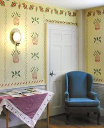 David Damon Tavern    In the summer of 2005, Suzanne Korn completed a project for the North Reading Historical and Antiquarian Society. In the Historical Society's Welcome Center, located at the c.1815 David Damon Tavern, she stenciled the walls with historic designs, patterns and motifs, as originally found in a small inn room at the Old Falmouth Tavern, Falmouth, ME. The original stenciling in Falmouth was attributed to Moses Eaton, Jr.  MB Historic Decor
