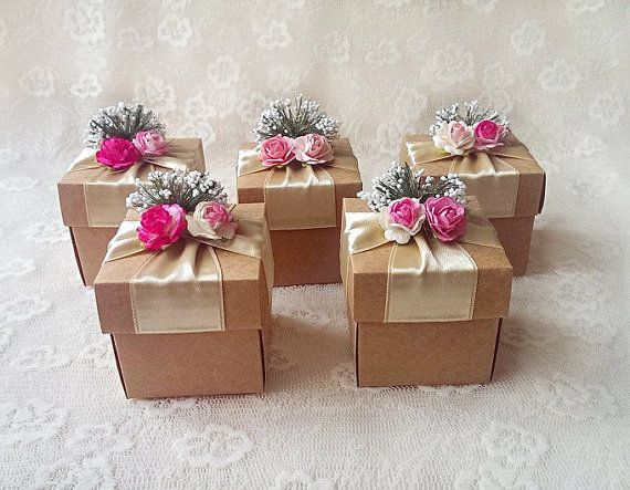 Kraft Rustic Favor Box With Paper Flowers Wedding Bridal Shower