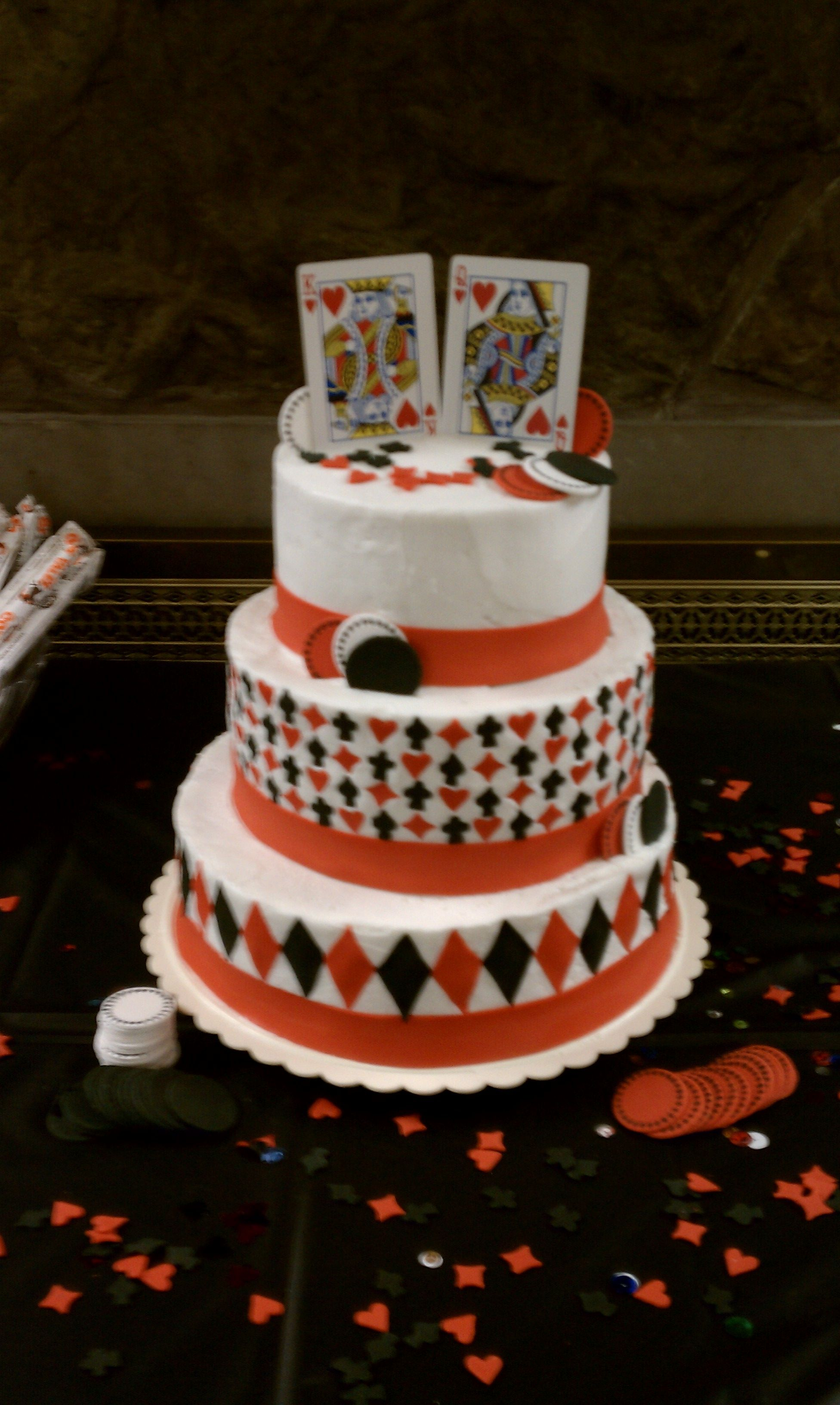 Las vegas wedding cake buttercream base with fondant