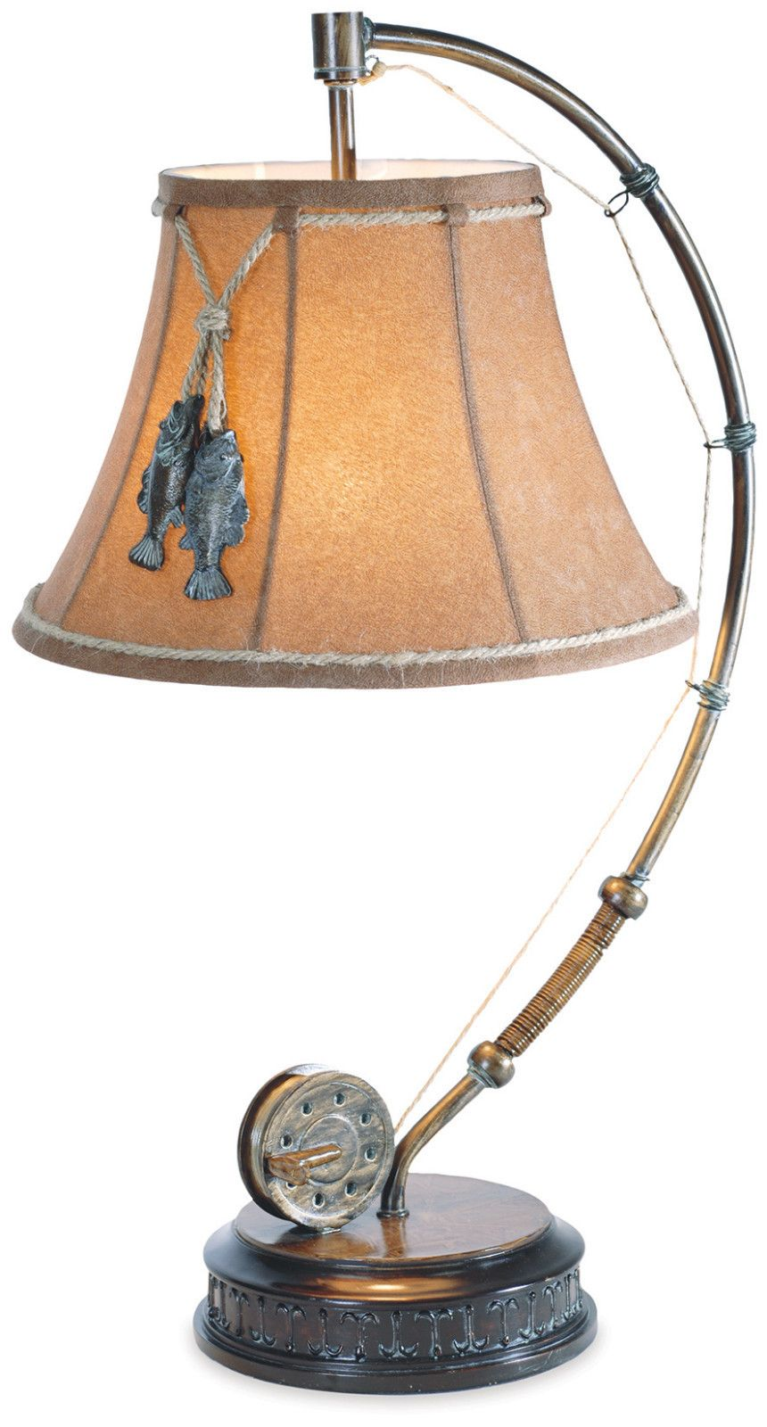 Fishing Table Lamp Rod Reel Wood Metal Catch Of The Day Rustic Nautical Table Lamp Lamp Modern Lamp
