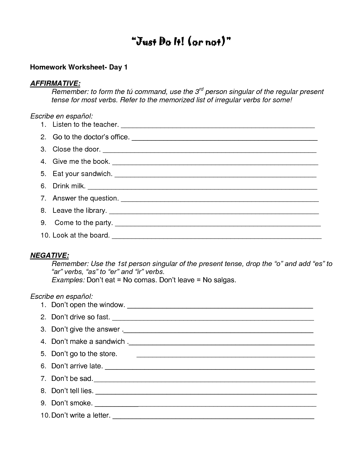 Spanish Worksheet 8 17 More On The Present Progressive