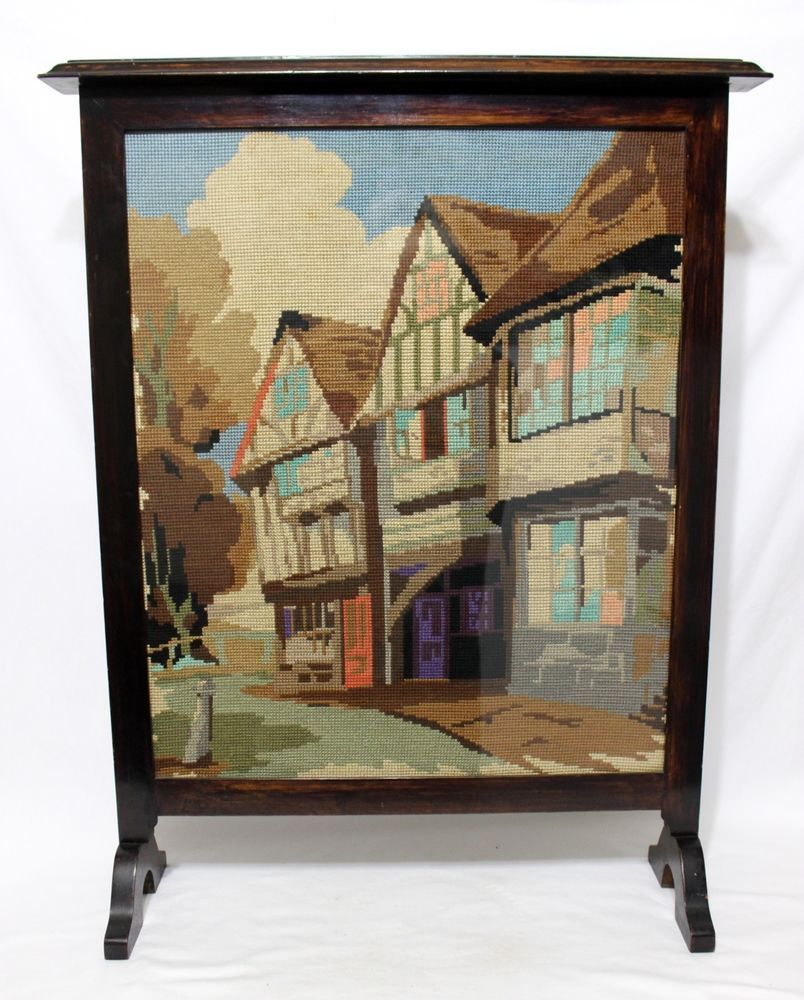 vintage needlepoint fireplace screen wood framed main street small