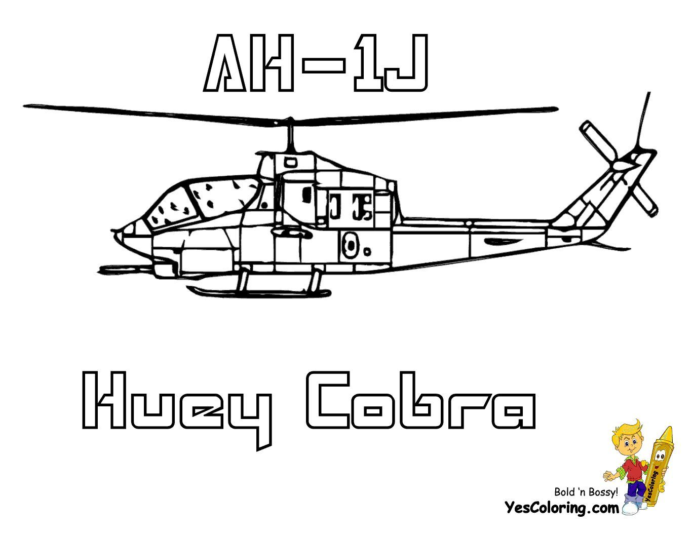 Print Out This Rugged Huey Cobra Helicopter Coloring Page Tell