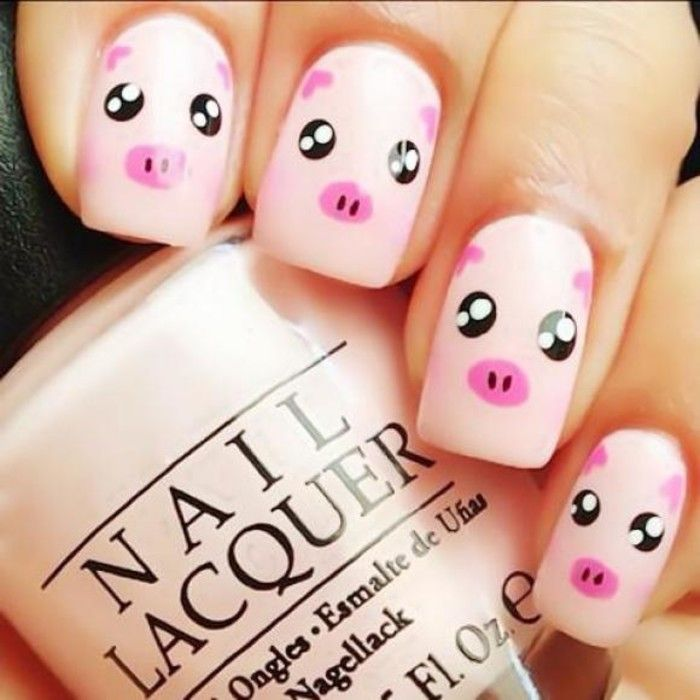 Cute Pig Nail Art Designs : Pig nail art over we nails pinterest