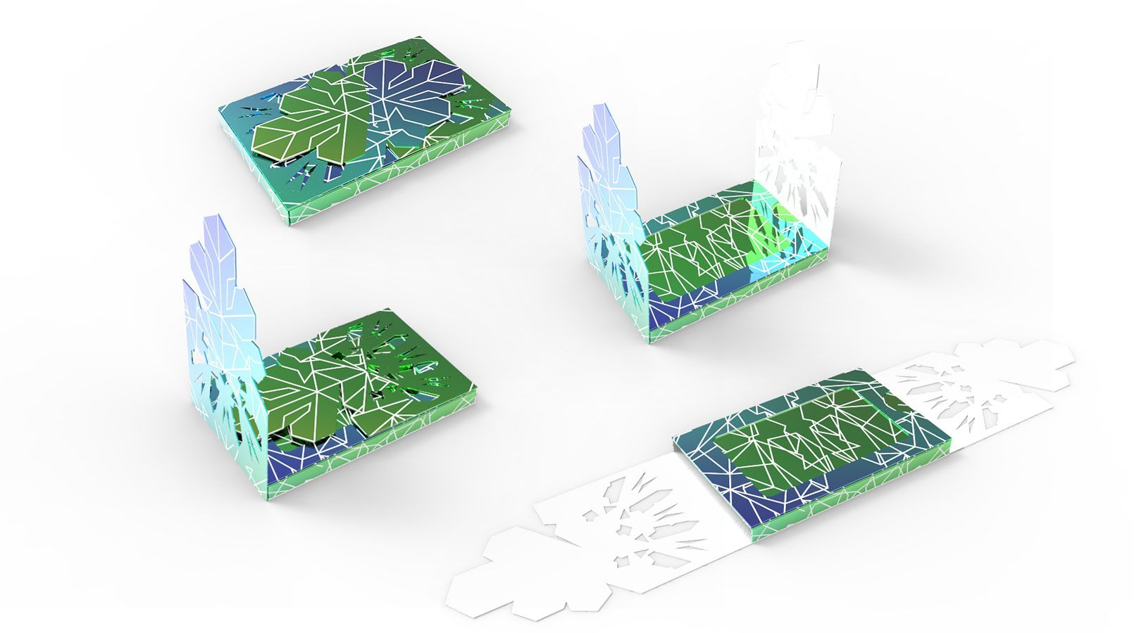 Design process for Sephora's holographic snowflake holiday retail packaging program.