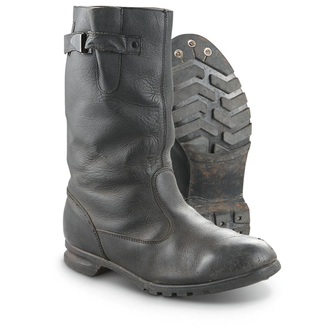 Used Czech Military Surplus Leather Boots, Black | Products, Boots ...