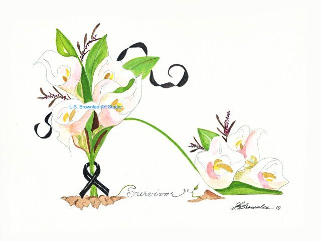 Melanoma Cancer Survivor Print - Custom Prints - CANCER SURVIVOR FLOWER SHOES - your choice of any of my flower shoes and the color of ribbon that goes with the cancer.  This is a great gift for the Cancer Survivors on your Christmas list.