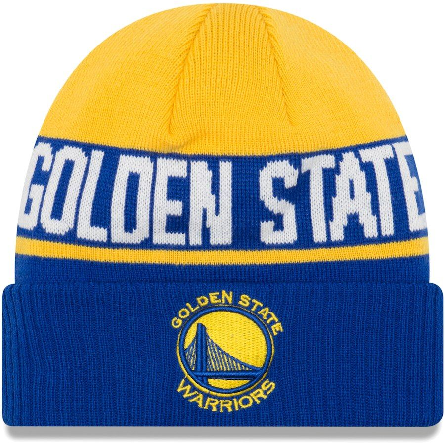 6c8e2c11486 Youth Golden State Warriors New Era Royal Chilled Cuffed Knit Hat ...