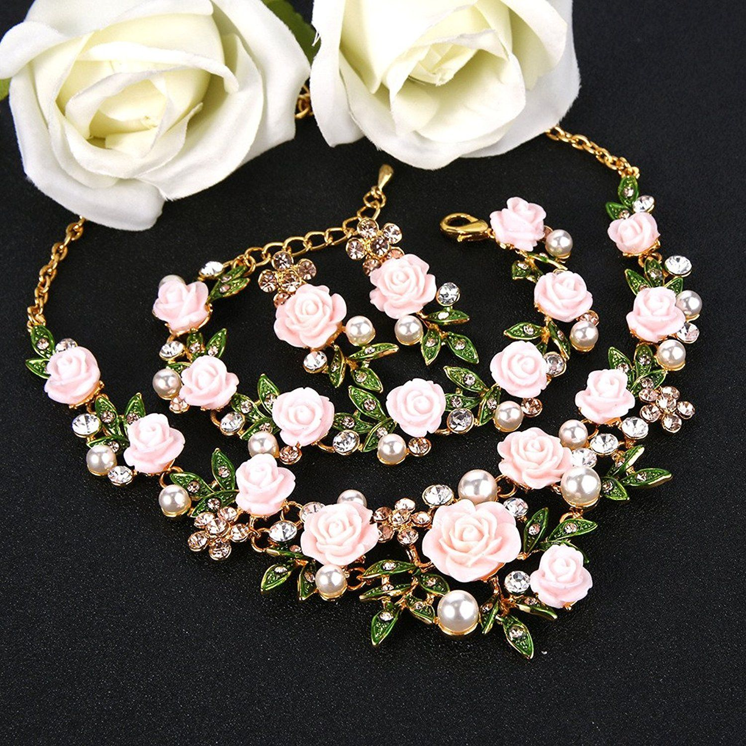 EVER FAITH Women's Austrian Crystal Simulated Pearl Rose Flower Leaf Necklace Earrings Set LX0Uvq