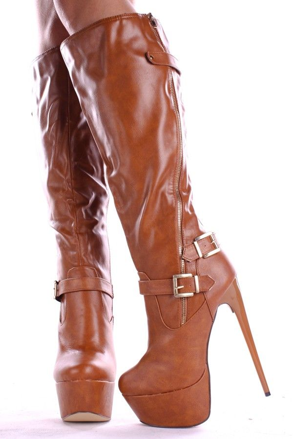 6bb43a0c35b TAN FAUX LEATHER PLATFORM 6 INCH STILETTO HEEL KNEE HIGH BOOTS,Women's Boots-Sexy  Boots,Heel Boots,Over The Knee Boots,Platform Boots,K… | shoes i want in ...