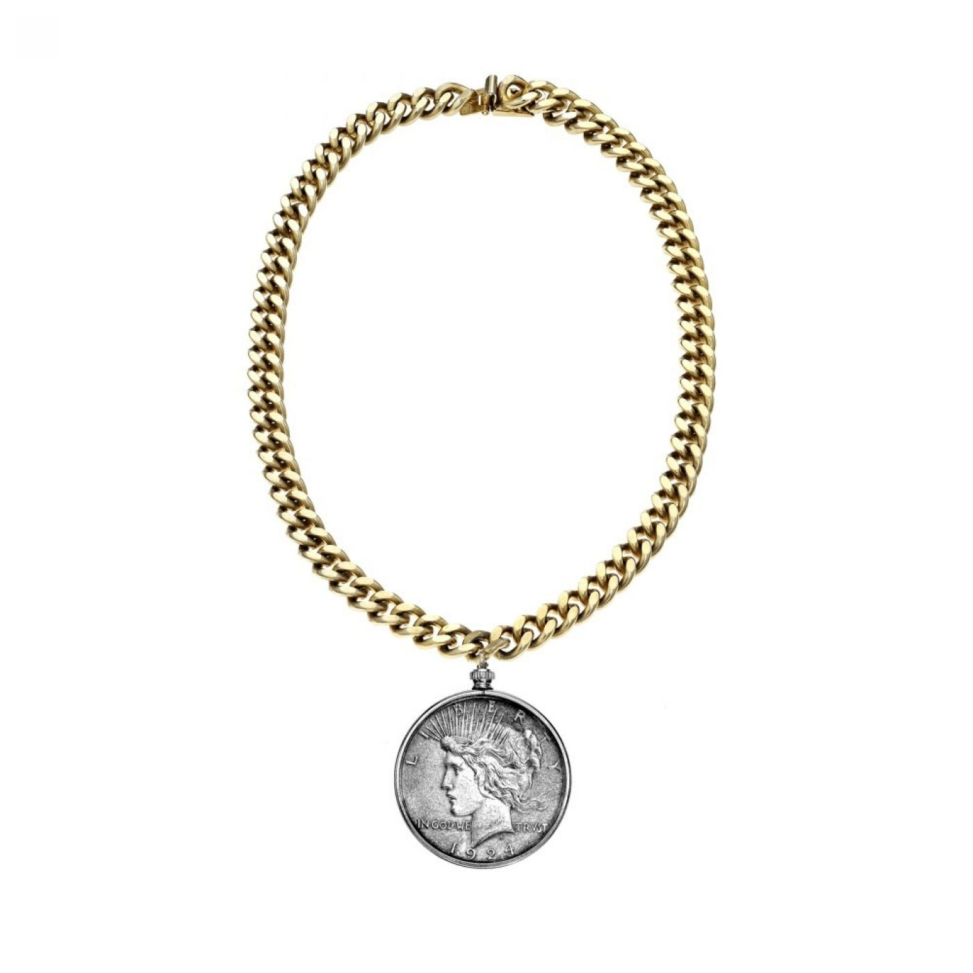 Liberty Dollar Necklace with Matte Gold Chain from JANIS SAVITT