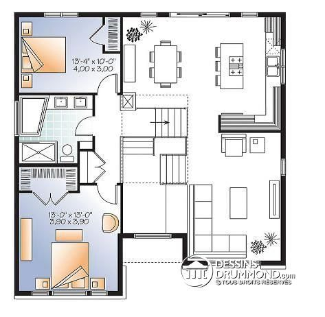 W3490 - Modèle contemporain, split-level, 3 chambres de bon format - plan maison une chambre