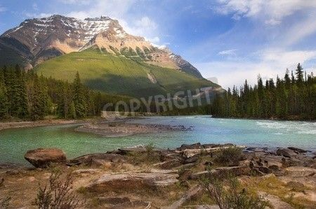the river flowing at the foot of the Canadian Rockies via MuralsYourWay.com