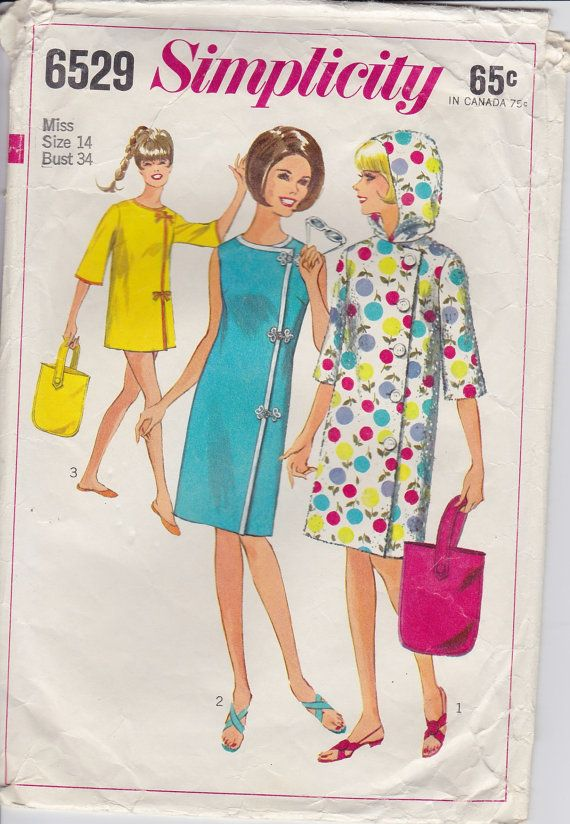 60s Beach Cover Up Robe and Tote Sewing Pattern Simplicity Size 14 ...