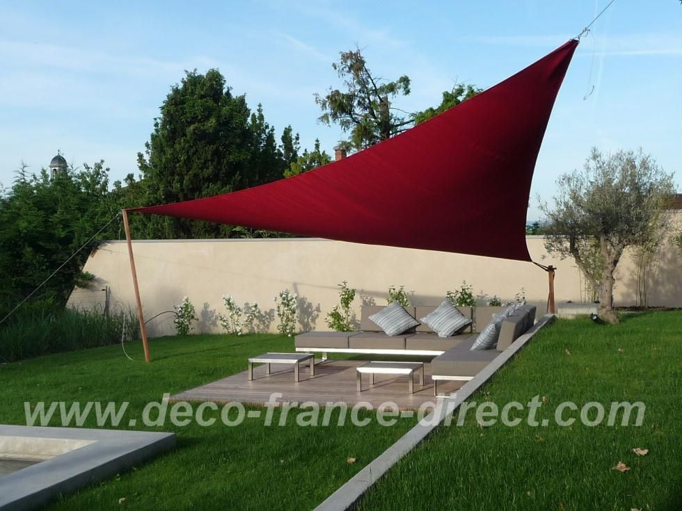 voile d 39 ombrage triangulaire jardin terrasse. Black Bedroom Furniture Sets. Home Design Ideas