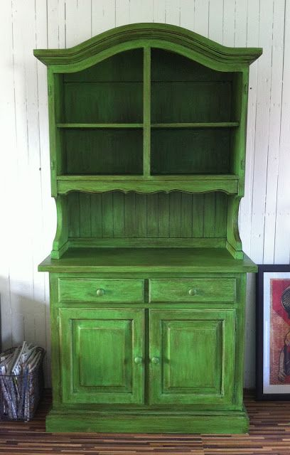 Cabinet Makeover Chalk Paint Antibes Green And Dark Wax