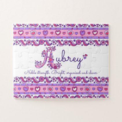 Aubrey name meaning pink purple jigsaw puzzle | Zazzle.com ...