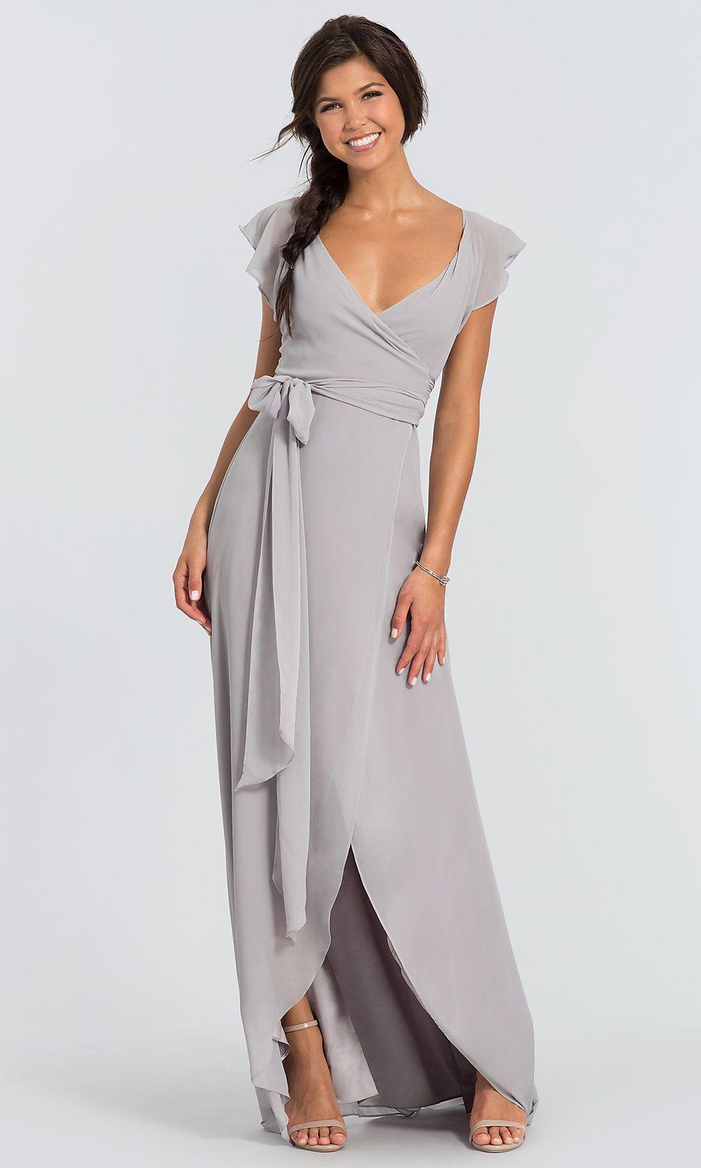 ce55926caa0 Dorian Long Chiffon V-Neck Wrap Bridesmaid Dress in 2019