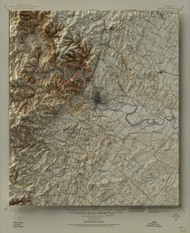 topographic map of austin Map Oc Austin 3d Shaded Relief Topo Map Map Topo Map Relief