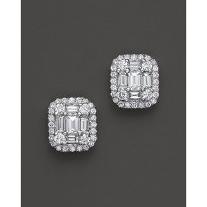 Emerald Cut And Baguette Micro Pavé Diamond Earrings In 14k White Gold 85