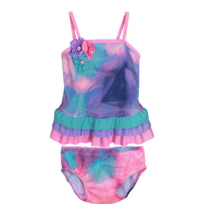 20dd926ead Isobella & Chloe Watercolor Pink/Purple/Aqua Two Piece Tank Ruffle Swimsuit