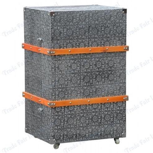 Chaandhi Kar Blackened Silver Metal Embossed Luggage Trunk And Drawers    Mirrors, Furniture, Lighting   Wholesale Supplier
