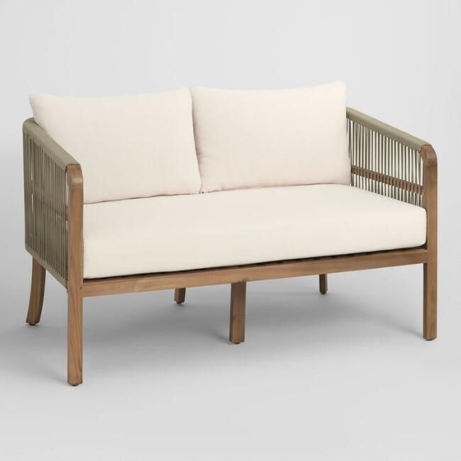 Cambria Patio Furniture.Tan Nautical Rope Cambria Outdoor Patio Occasional Bench By World