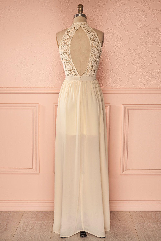 a467841731f Robe maxi beige licou buste dentelle jupe voile fente côté - Maxi beige  halter sleeveless laced bust veil skirt dress side slit