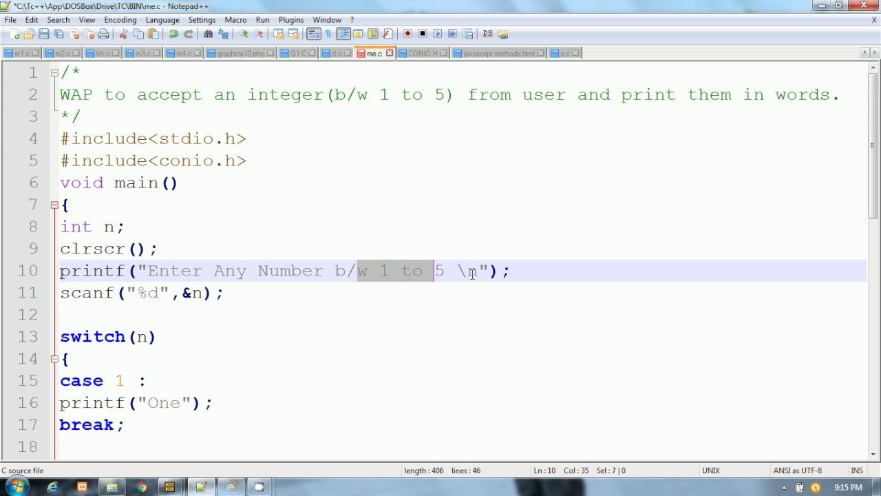 C Program Switch Statement Enter Number And Print In Words Hindi Urdu Switch Statement Words Print