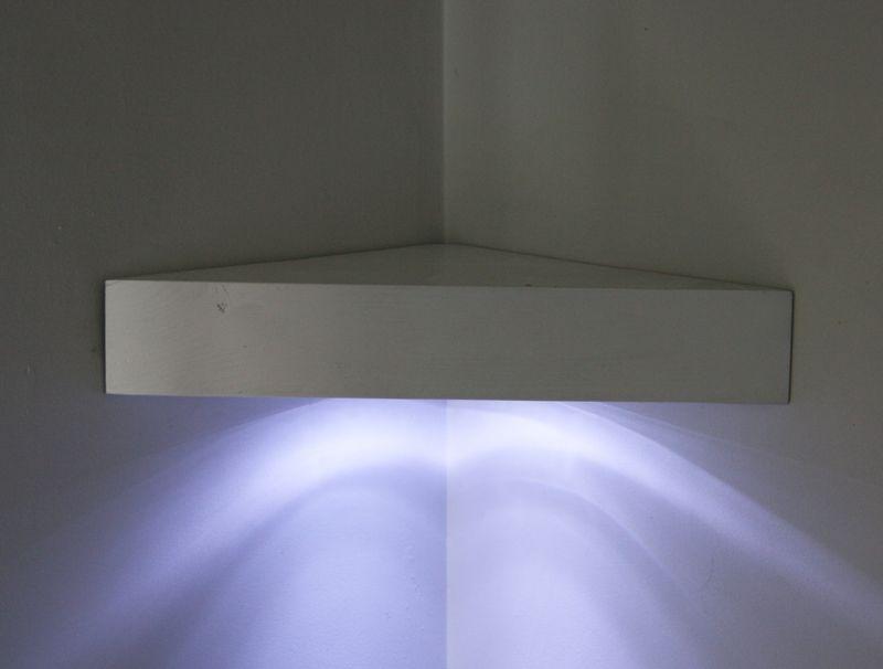floating corner shelf with led lights home ideas. Black Bedroom Furniture Sets. Home Design Ideas