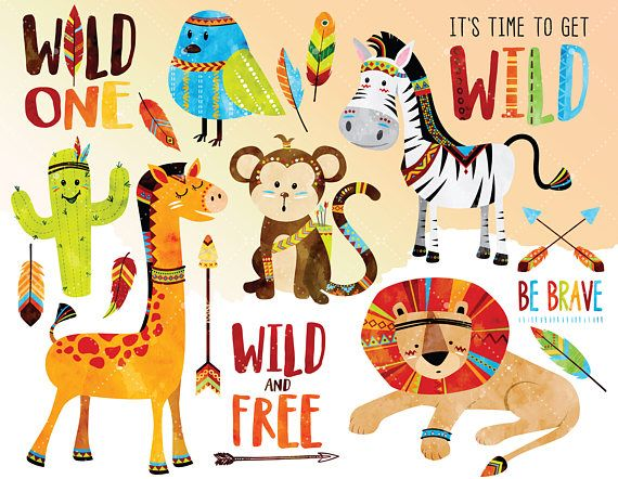 Woodland Tribal Animals Clipart - Watercolor Clipart ...