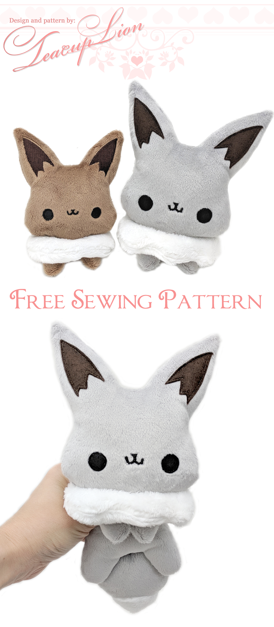 Free Eevee plushie sewing pattern and ITH machine embroidery pattern ...