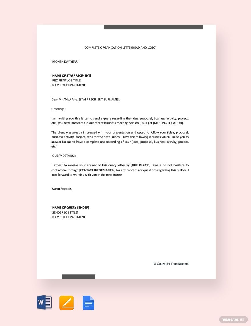 Sample Of A Query Letter from i.pinimg.com