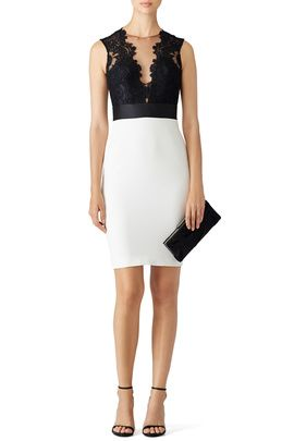 7336fefb Black and White Midnight Sheath by Theia | Vestidos | Black, white ...