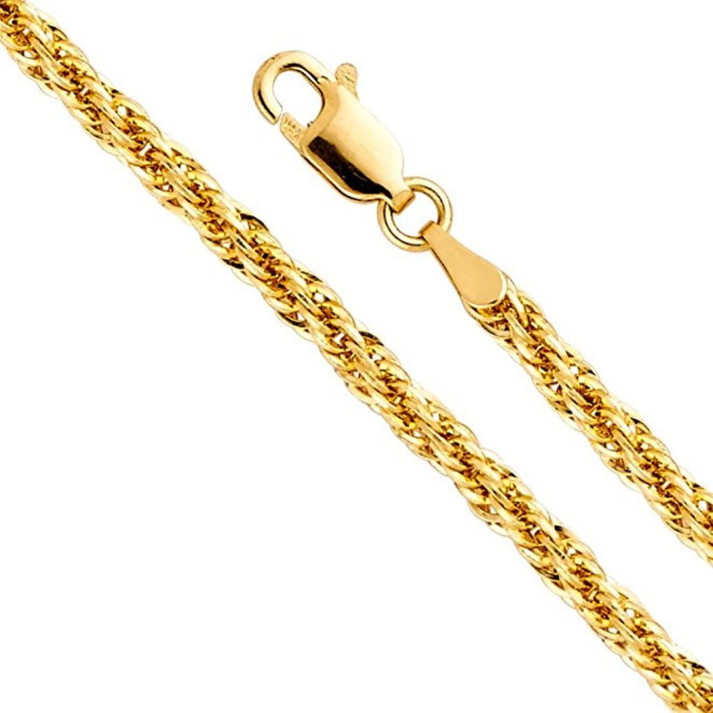 89bebdc3b3e8b 14k Yellow Gold Hollow 3mm Fancy Rope Chain 20