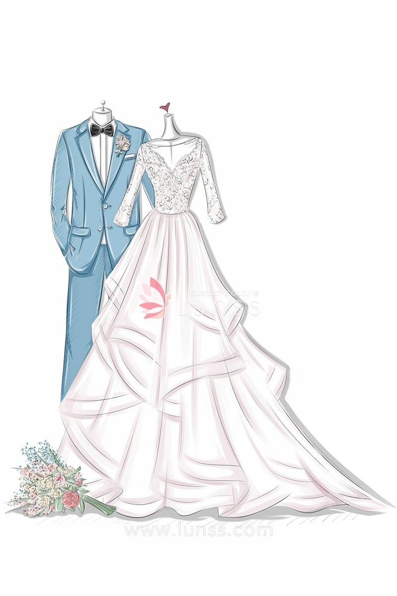Illustration Of Tiered Floral Appliques Long Sleeves Floor Length Blush Bridal Gown Fashion Illustration Dresses Fashion Sketches Dresses Lifestyle Dresses