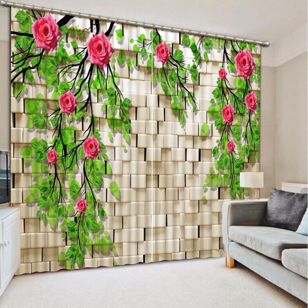 3d Bathroom Shower Curtain Wall Tiles Green Leaf Flowers