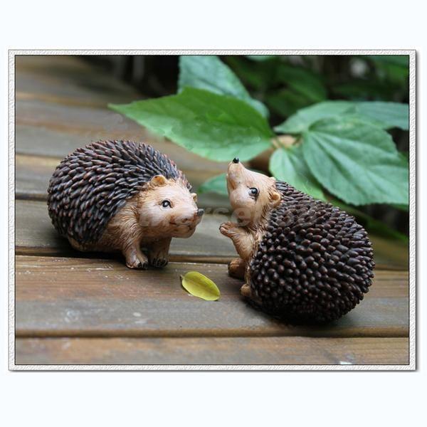 Pair of Cute Resin Small Hedgehog Garden Farm Indoor Ornaments Deco Great Gift