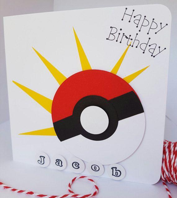 Personalised Pokemon Go Birthday Card Kids Adults Handmade BD26